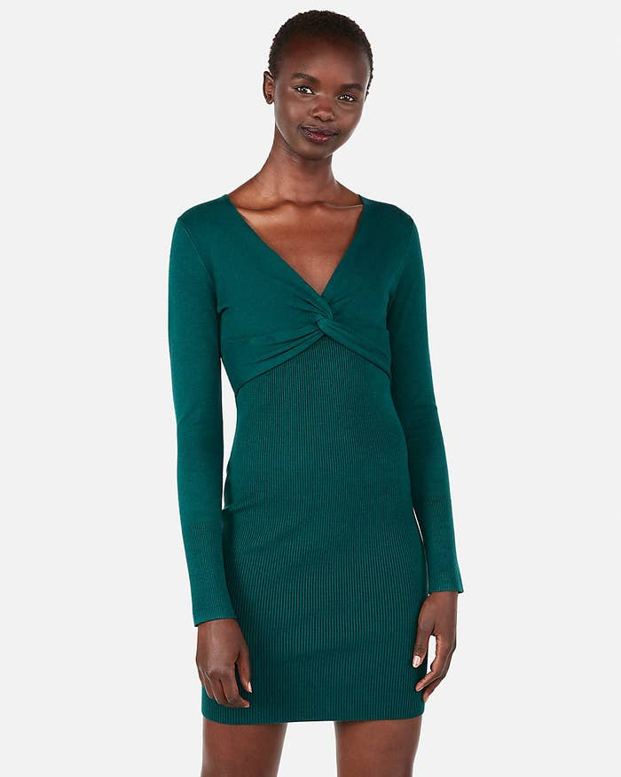 18fcd61d1a2af A twisted rib knit dress that ll make your slacks go green with envy when  they realize this is about to become your new best friend.
