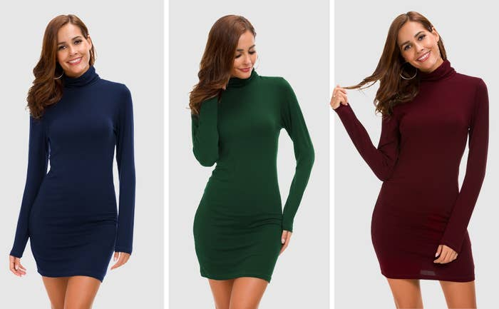 84d5b625800 A simple turtleneck dress so you can rely on a basic that won t ever go out  of style. It s you two against the world now. Feel free to toss all pants  out ...