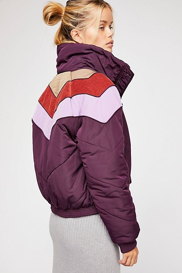 "Promising review: ""I absolutely love this jacket. I purchased it in the navy blue combo and it's so comfy and cute. I always get a ton of compliments when I wear this jacket. It has a very retro feel to it. I can't wait for the golden color to get here. I might end up buying the purple as well."" —wynishahardinGet it from Free People for $128 (available in sizes XS–L and two colors)."