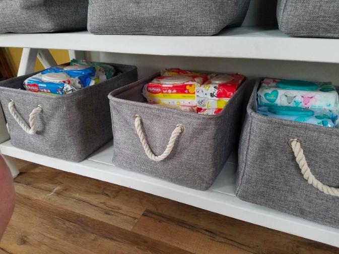 the storage baskets on a shelf