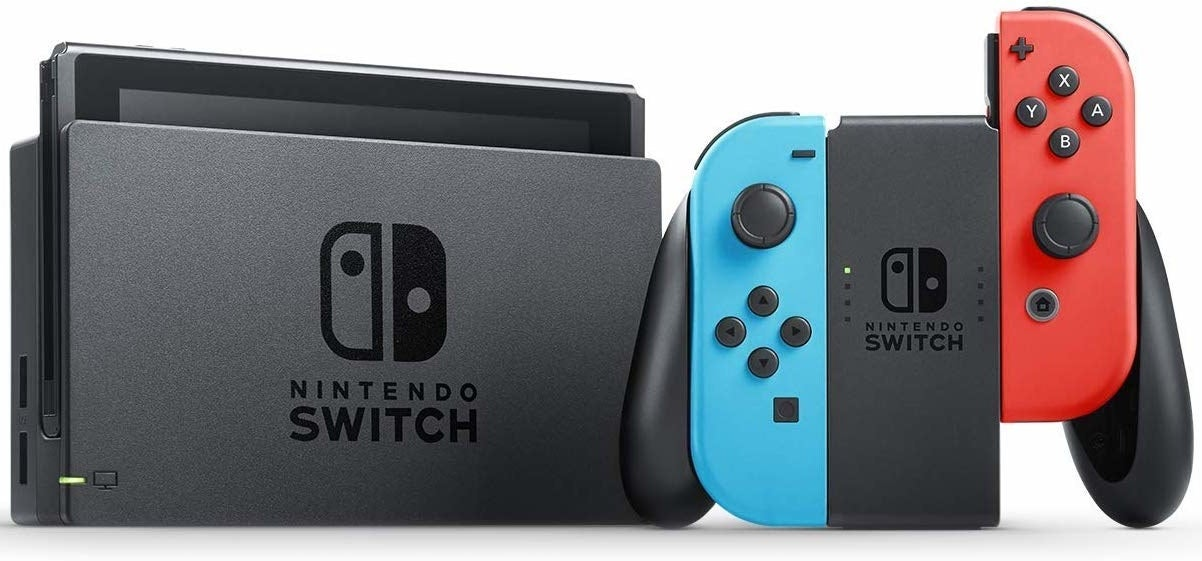 A Nintendo Switch's black, rectangular console and blue and red controller, showcasing that the modules of the controller can be snapped in and out.