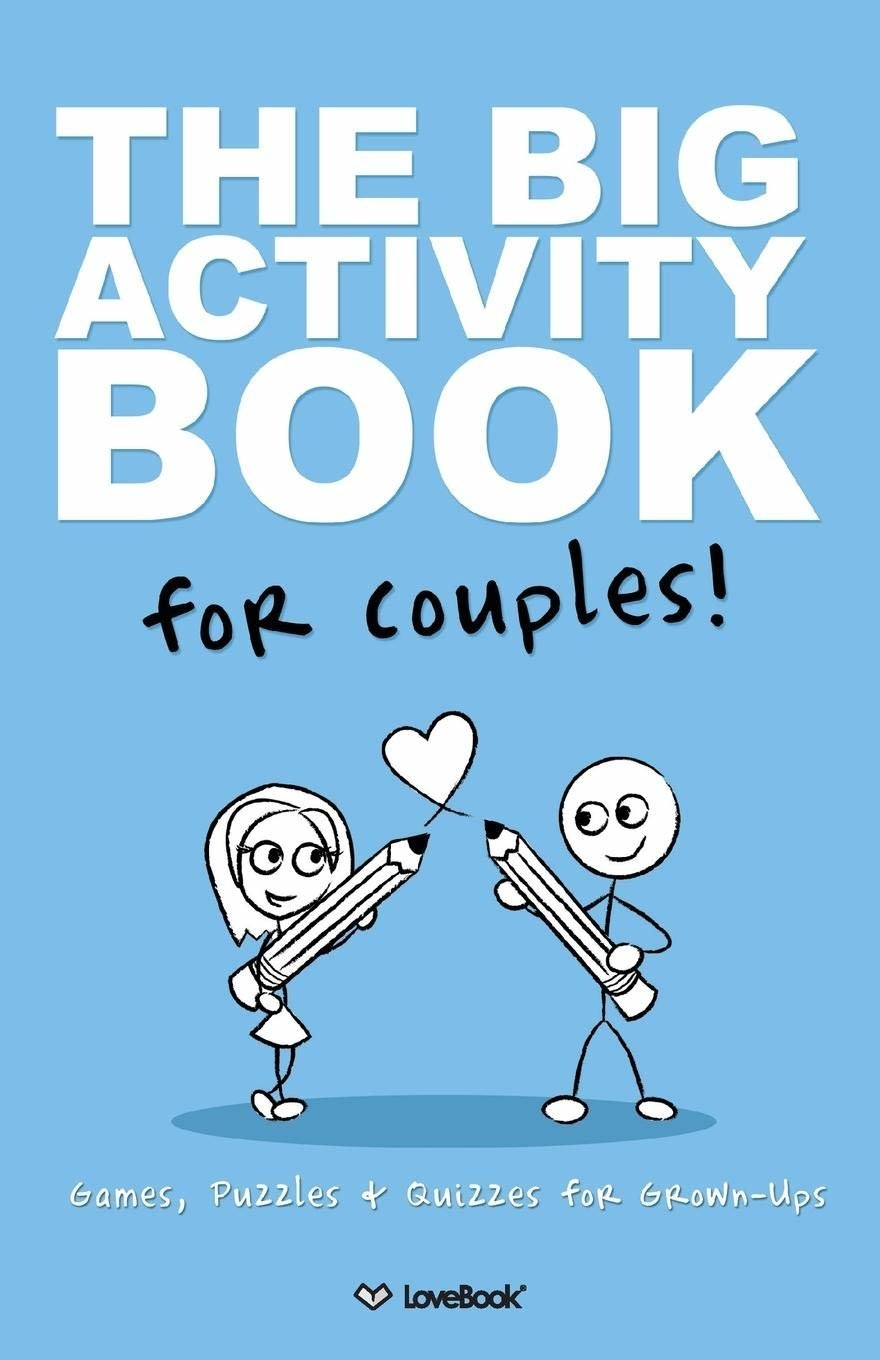 "Book cover with an illustration of two stick figures holding giant pencils drawing a heart between them. It reads ""The Big Activity Book for Couples: Games, Puzzles, and Quizzes for Grown-Ups"""