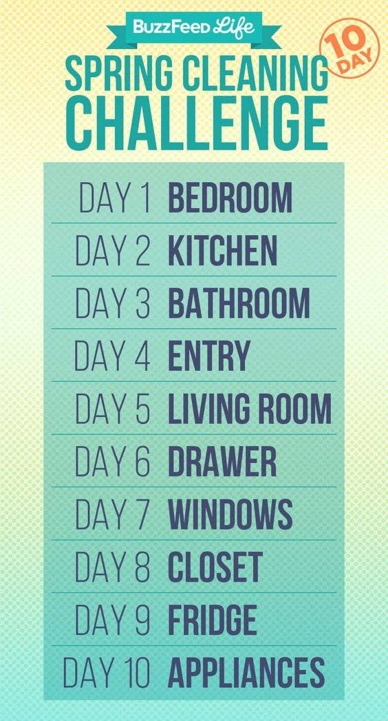 BuzzFeed illustration with 10 days of cleaning instructions