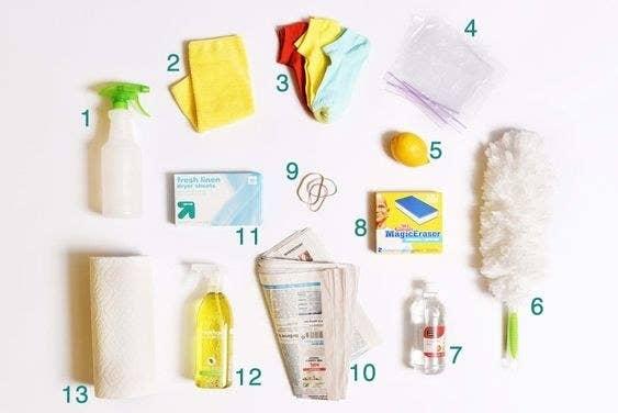 a flat lay of 13 cleaning products