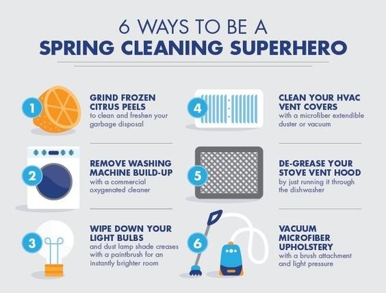 Graphic of 6 ways to be a spring cleaning superhero