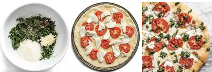 This bad boy is about 56 cents a slice (So, ~$5 for the whole pizza.) And it tastes great. Not bad! Get the recipe here.
