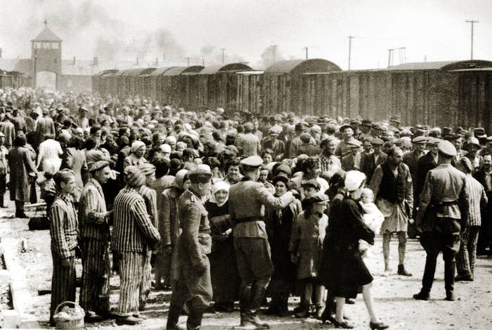 The arrival of Hungarian Jews in Auschwitz-Birkenau, in German-occupied Poland, June 1944.