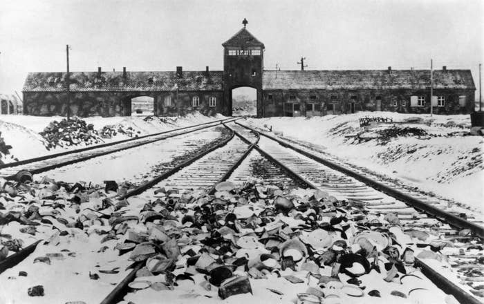 The entrance of Auschwitz concentration camp after its liberation in Jan. 1945.