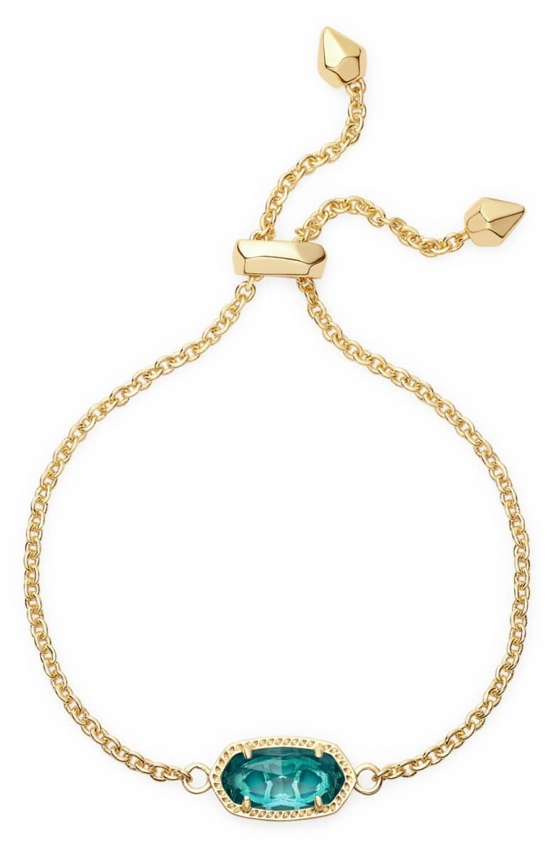 The thin chain bracelet in gold with the December birthstone