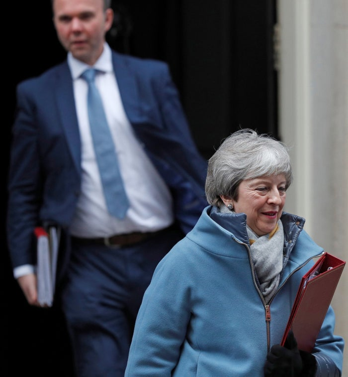 Prime minister Theresa May followed by Number 10 chief of staff Gavin Barwell, leaving 10 Downing Street.