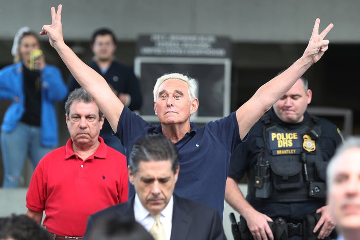 Roger Stone, a former advisor to President Donald Trump, exits the Federal Courthouse on January 25, 2019 in Fort Lauderdale, Florida. Mr. Stone was charged by special counsel Robert Mueller of obstruction, giving false statements and witness tampering.