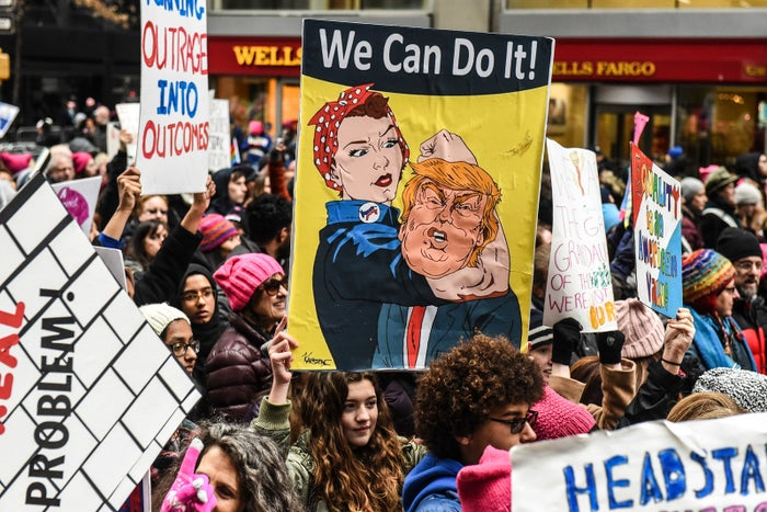 People participate in the Women's March on January 19, 2019 in New York City. This year marked the third year of the Women's March which still drew large crowds in New York despite a public dispute between organizers.