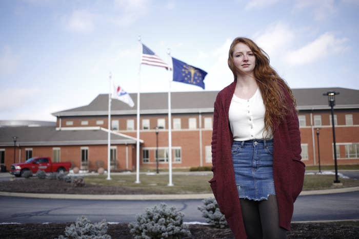 Kyra Howard stands for a portrait in front of Plainfield High School in Plainfield, Indiana, on Jan. 24.