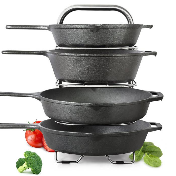 """Each shelf is height adjustable with maximum total recommended height of 26 lbs. Promising review: """"Good enough for cast iron and my family. 10/10. They mean it when they say it can handle cast iron. These things are amazing; have bought two and would recommend to family."""" —WillGet it from Amazon for $24.76."""