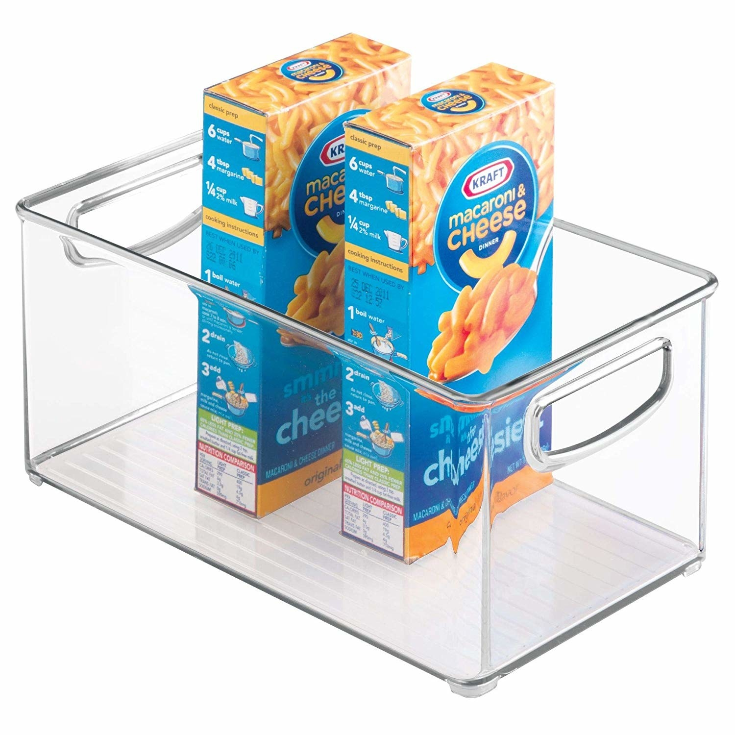 clear bin with boxes of mac and cheese in it