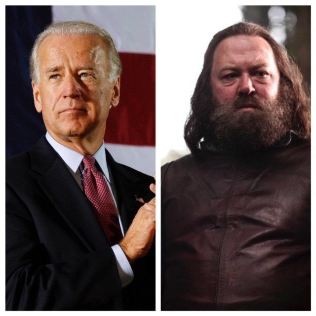 Good intentioned, loyal friends, and a both a little unrefined-which is why we love them. Like King Robert, Biden likes pretty women and to have a good time. Both had their chance at power but their time is over. Also, very handsome when they were young men. *look up young Joe Biden* You're welcome.