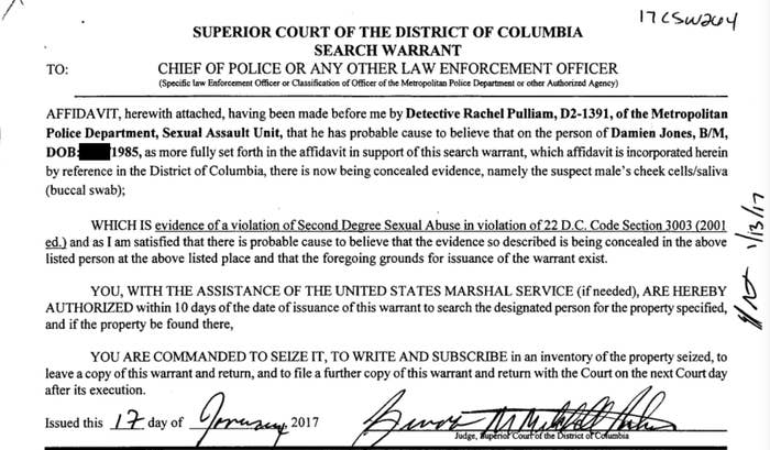 January 2017 search warrant application for a DNA sample from Damien Jones.
