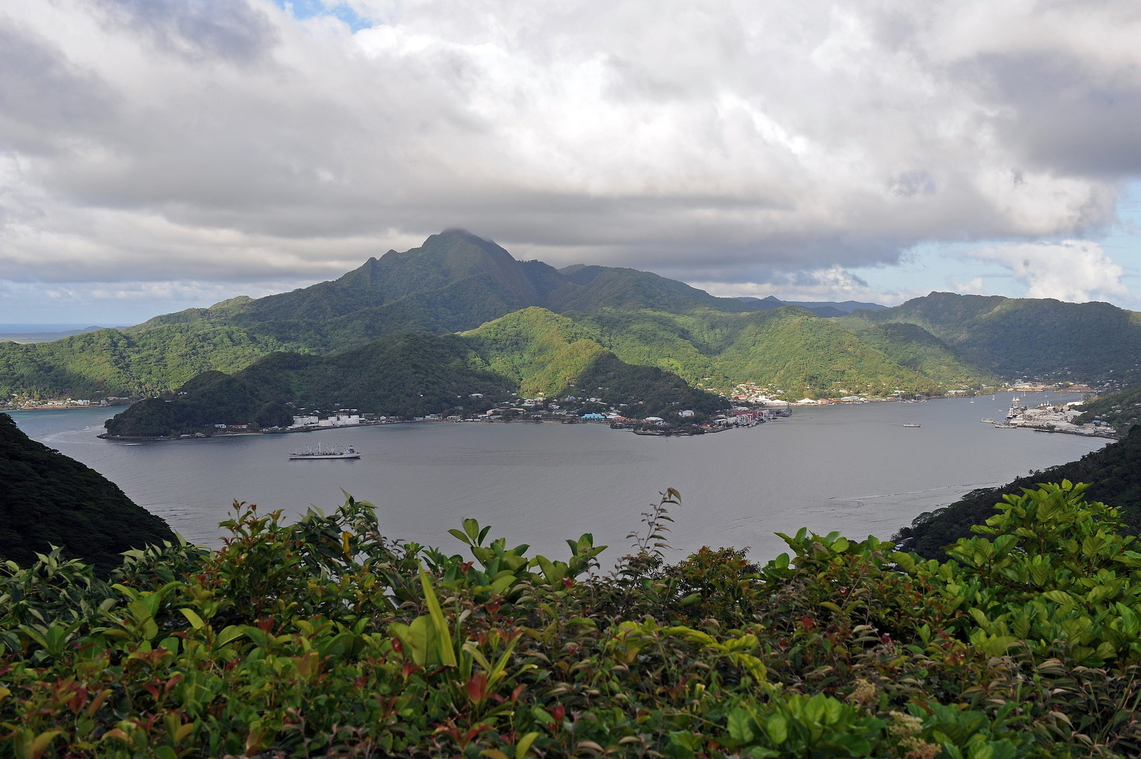 Matafao Peak above Pago Pago Harbor on Tutuila in American Samoa.