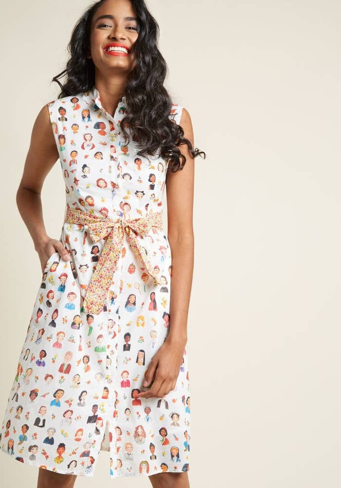 A shirtdress full of familiar faces that will remind you of all the women  who have come before you as you go on to further smash the patriarchy in  2019. cfb15b22a