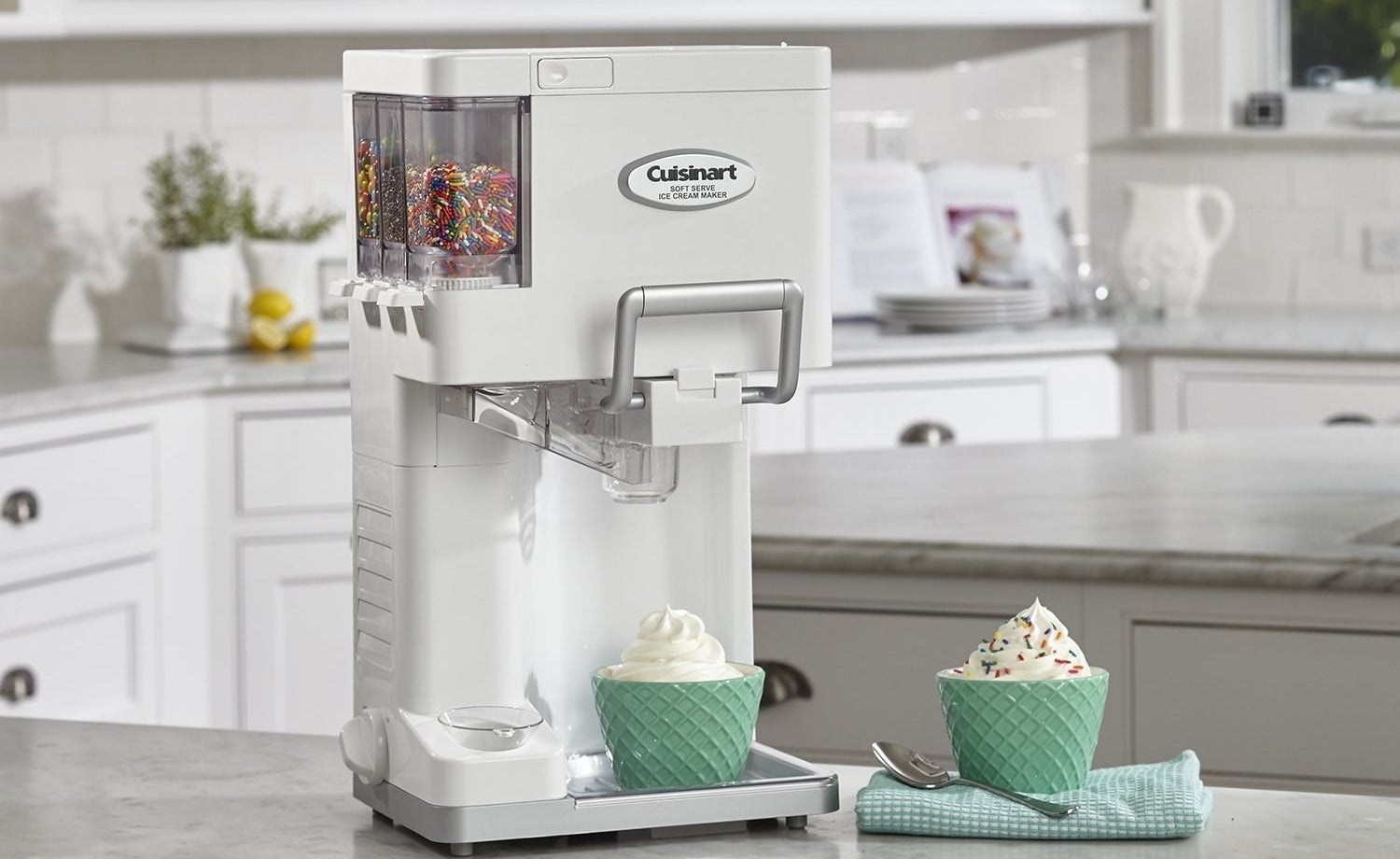 Can make up to 1.5 qt. of soft serve in about 20 minutes. Features three built-in condiment dispensers and a spot to place cones. It's automatic! All you need to do is put in your own ingredients, turn on the dial, and let it do all the work. includes a recipe book for inspo!Get it from Walmart for $99.95.