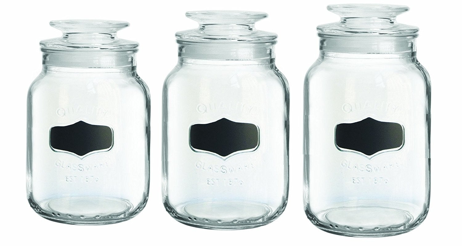 Comes with one small, one medium, and one large canister, and allows you to customize your own chalkboard label! Recommended to hand-wash!Get them from Jet for $26.32 (originally $48.99).