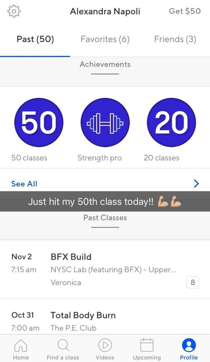 For New York classes (where I'm located), the average class is eight credits. You can book classes directly through the app, keep track of upcoming classes, star your favorite gyms, connect with friends, rate classes after they're completed, and get access to ClassPass Live. What's ClassPass Live? It's a streaming service that lets you access workouts if you can't actually be there in-person.Above is an old screenshot from the app on my phone. You can see a couple of my past classes and some achievements!
