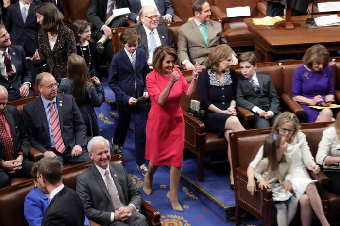 Pelosi enters the chamber during the first session of the 116th Congress ahead of her reelection as speaker.