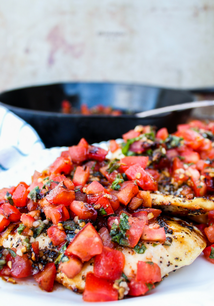 Give grilled chicken a major upgrade with a homemade bruschetta sauce, made with diced tomatoes, basil, garlic, oil, and balsamic. Get the recipe.