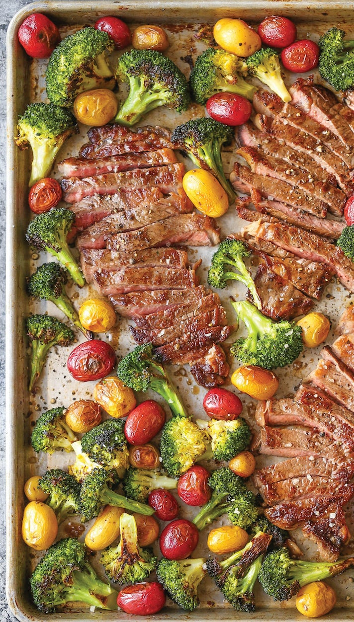 Because cooking is probably the last thing you want to do on a Monday night, this easy sheet pan dinner is a total no-brainer. If you're not crazy about tomatoes and broccoli, feel free to swap in your favorite veggies. Get the recipe.