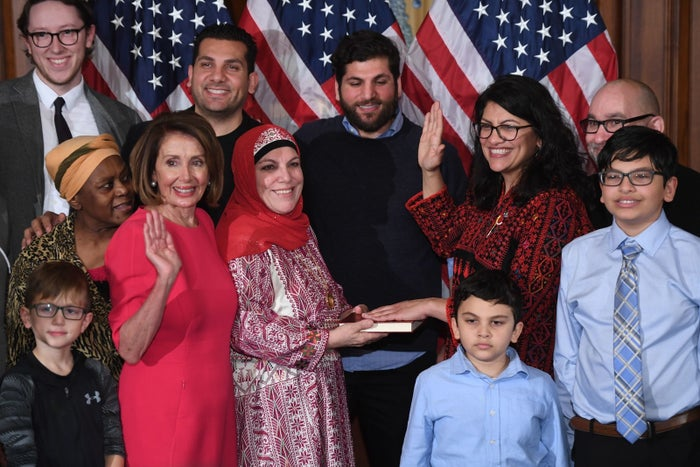 Rashida Tlaib participates in a ceremonial swearing-in from Speaker of the House Nancy Pelosi on Jan. 3.