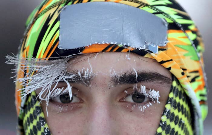 Frost covers University of Minnesota student Daniel Dylla's face during a morning jog along Mississippi River Parkway on Tuesday in Minneapolis.