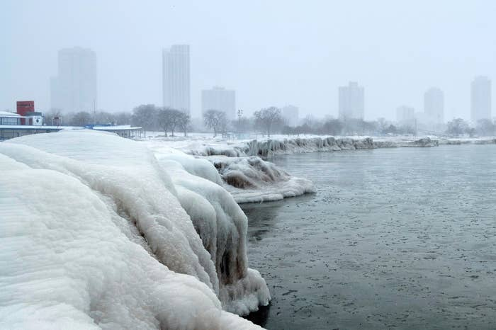 The Chicago skyline, as seen from North Avenue Beach at Lake Michigan on Tuesday.