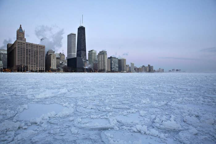 Ice floats on Lake Michigan in Chicago on Wednesday morning.