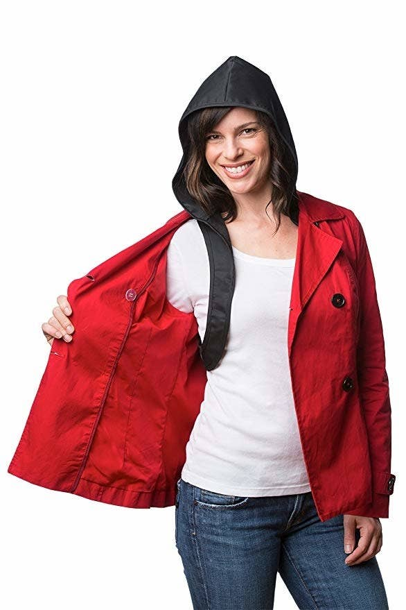 "The 100% water-resistant Hood to Go weighs only 4 oz, so you can leave it in your bag at all times and simply pop it on in the case of a unpredicted storm. Promising review: ""I have a few different jackets and not all of them have hoods. Now I keep my Hood to Go in my bag all the time so I can turn all my coats into hooded ones, whether I'm biking, walking the dog, jogging, running errands, whatever! The drawstring keeps it secure for biking and jogging. Love that this is a Portland-based company, too! I'm going to buy another one in a bigger size for my boyfriend."" —A. JuliusGet it from Amazon for $29 (available in two sizes)."