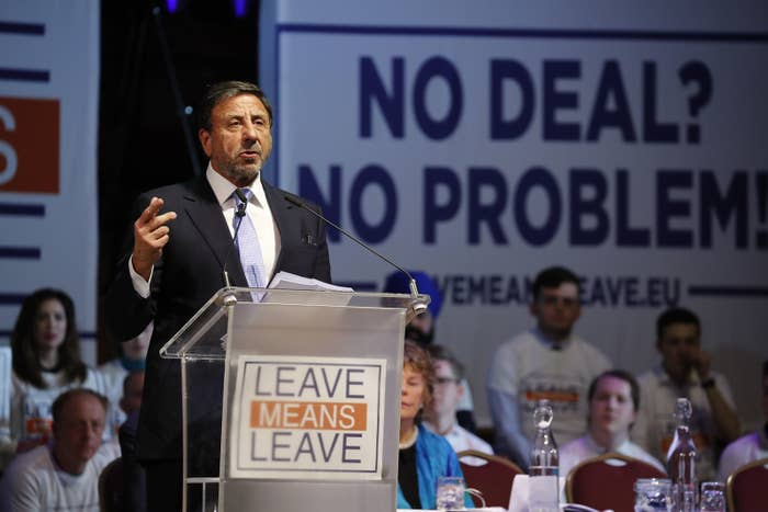 Rocco Forte, co-owner of the Catholic Herald, speaks at a hard-Brexit political rally in London on Jan. 17, 2019.