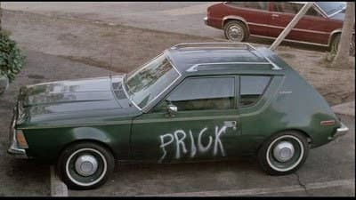 Ah yes, the famous scene where Damone comes out to his car only to find the word PRICK engraved on his car. But what's more startling is just how Linda managed to find out where Damone lives. Did the two have a thing in the past? And I can't help but imagine Linda having to do the dirty work at night when no one can see her.