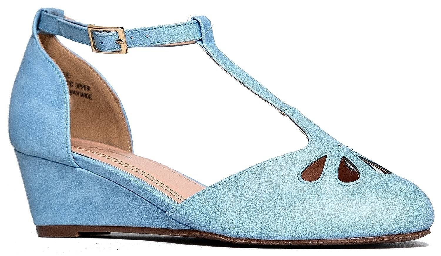 82262b3e971 A pair of pastel Mary Janes so you can take your first step into the heeled  territory with a very small wedge.