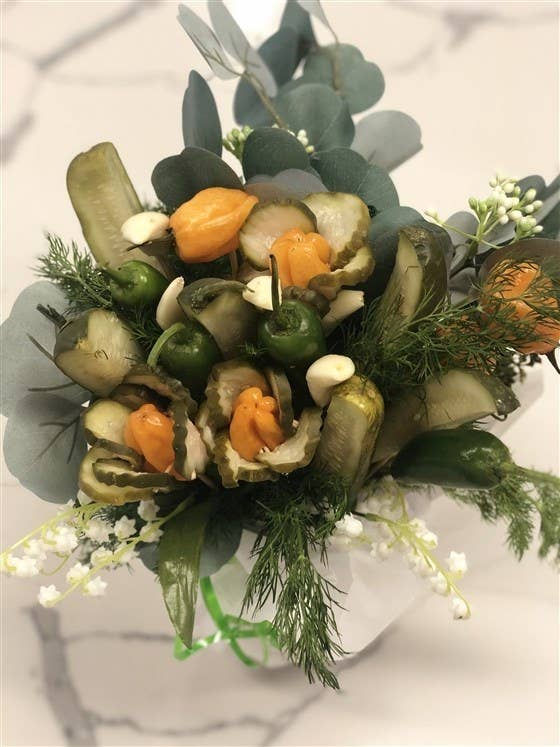 A pickle company based in Boston called Grillo's Pickles created this pickle-based bouquet on the TODAY show.