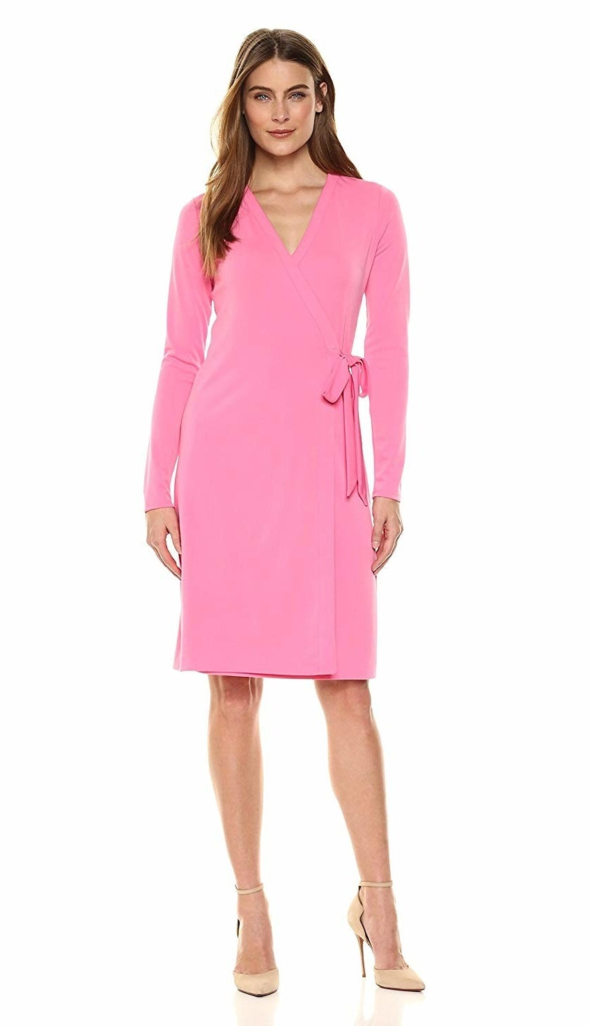 """This chic wardrobe staple is actually from one of Amazon's in-house fashion brands!Promising review: """"I have a Diane von Furstenberg wrap dress that I love and it cost me four times what this dress cost. I love this just as much and it's actually more flattering. It's well-made and looks great — you can't go wrong ordering this one!"""" —Coco LGet it from Amazon for $45 (available sizes XS-XL and in four colors and prints). Find it in plus sizes here."""