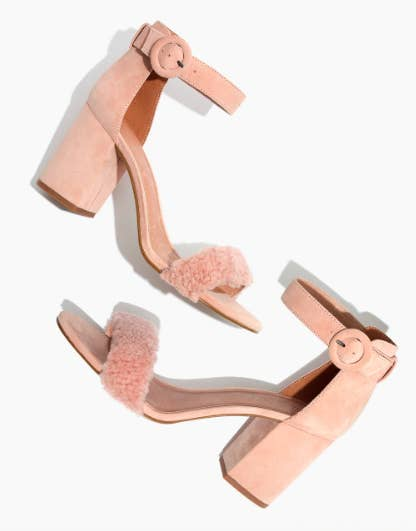 9ecfbd8ebef Block heels with an ankle strap and a ~touch~ of shearling that ll remind  you of something Elle Woods might wear as an adult post–law school  graduation.