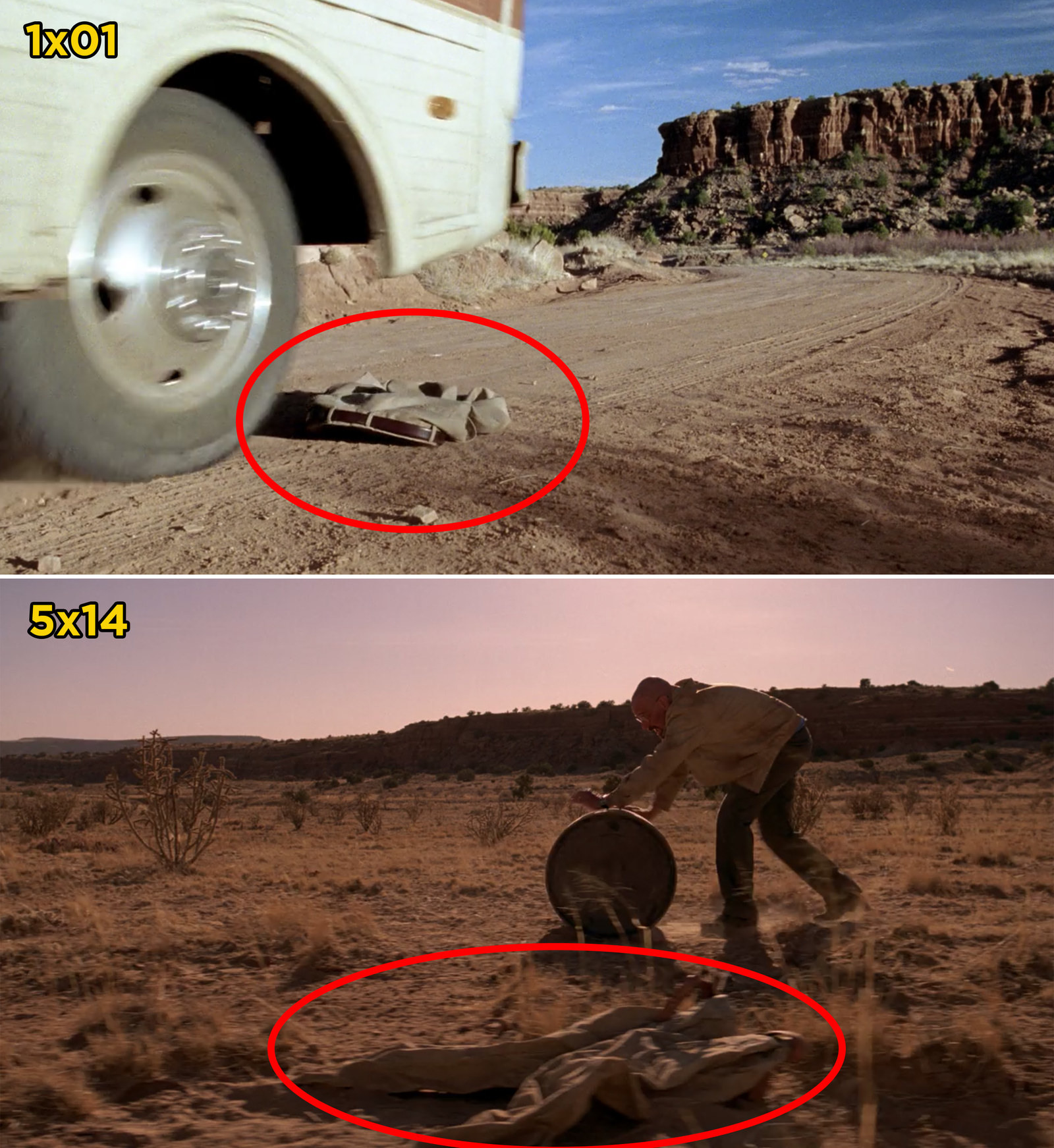 Also in  Breaking Bad , the pair of pants that Walter loses in the desert during the pilot reappear when Walter passes them during the final season.