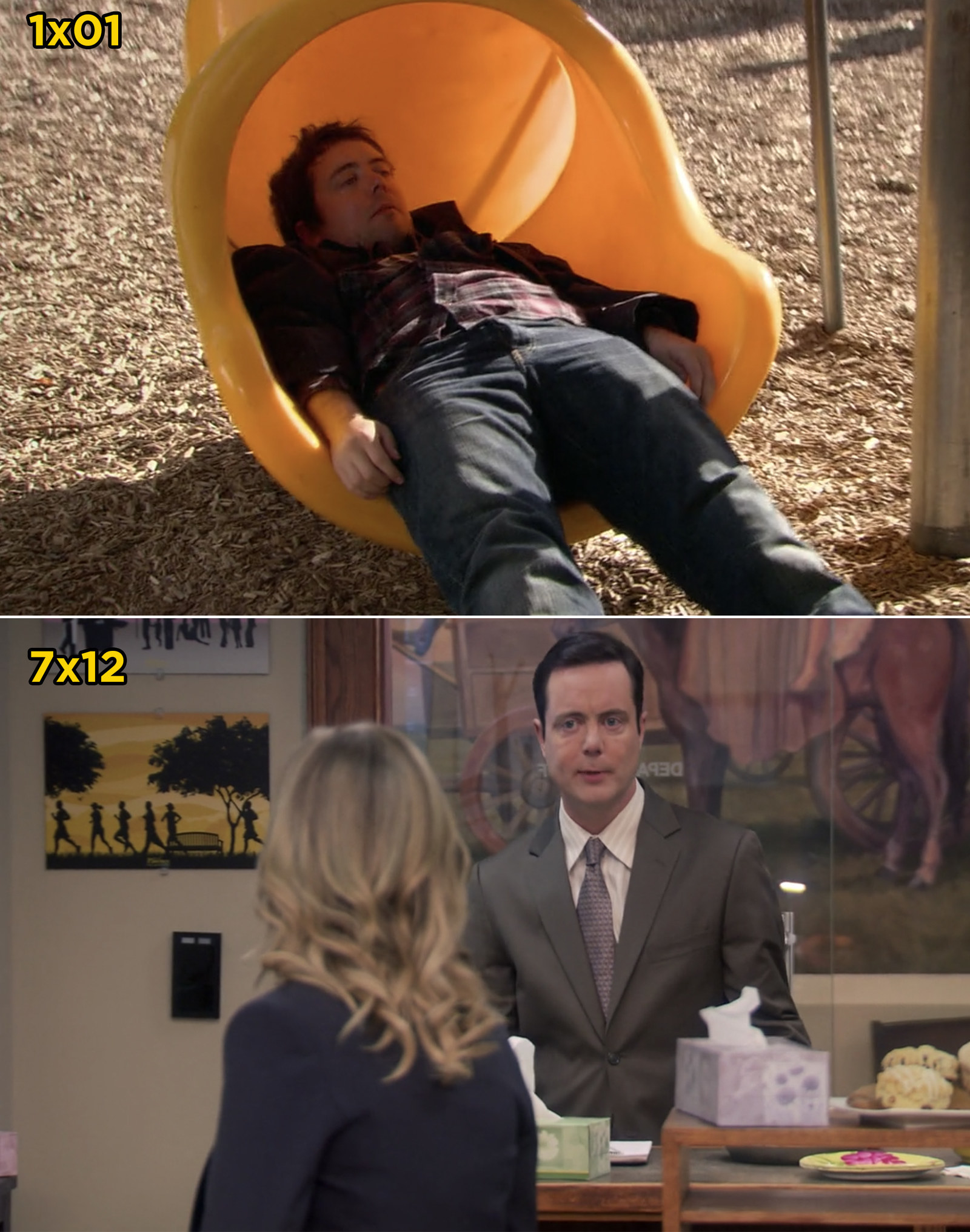 In  Parks and Rec , the drunk man Leslie sees on the playground is the same man who returns in the final episode to ask the parks department to fix a playground swing.