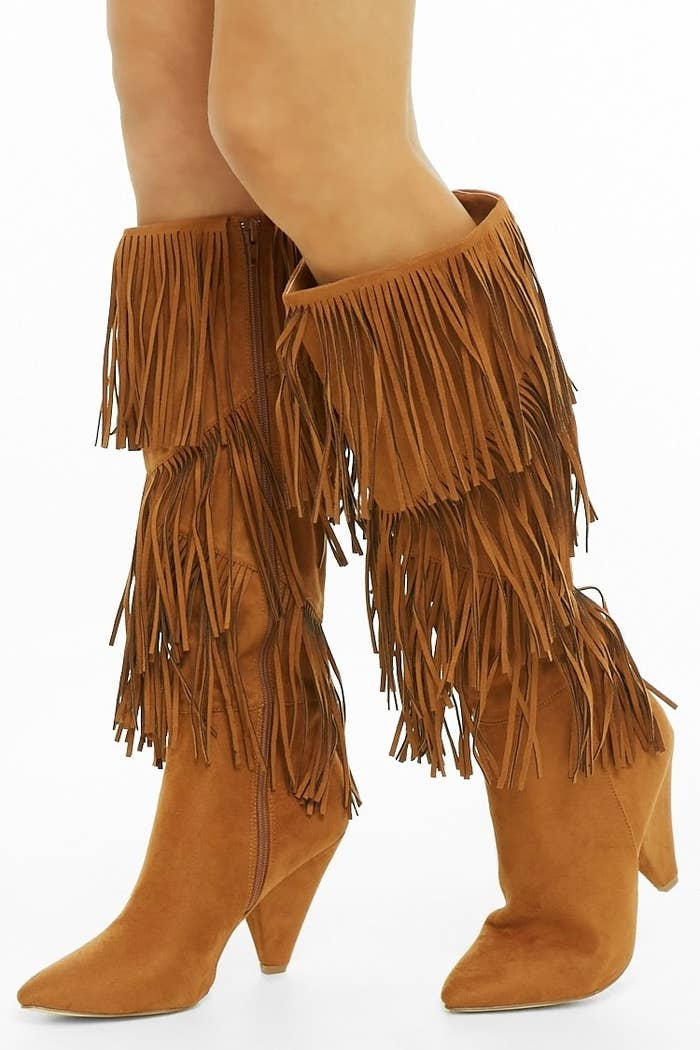 4ebda46aeb3 Faux suede fringe knee-high boots for festival season or just when you want  to add a touch of flair to your everyday look.