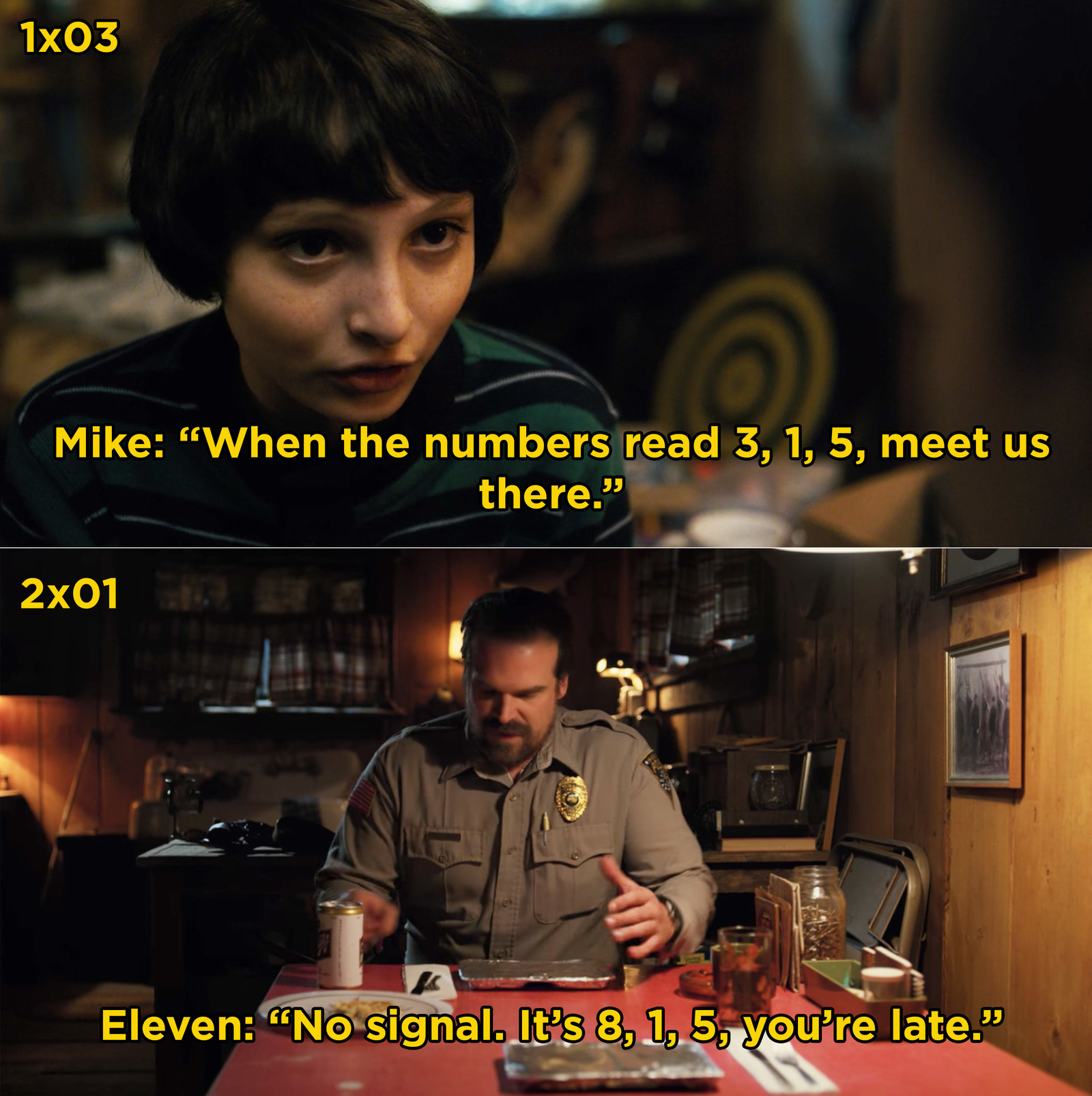 In  Stranger Things , Mike teaches Eleven how to tell time by reading each number out one-by-one. In Season 2, she still tells time that way.