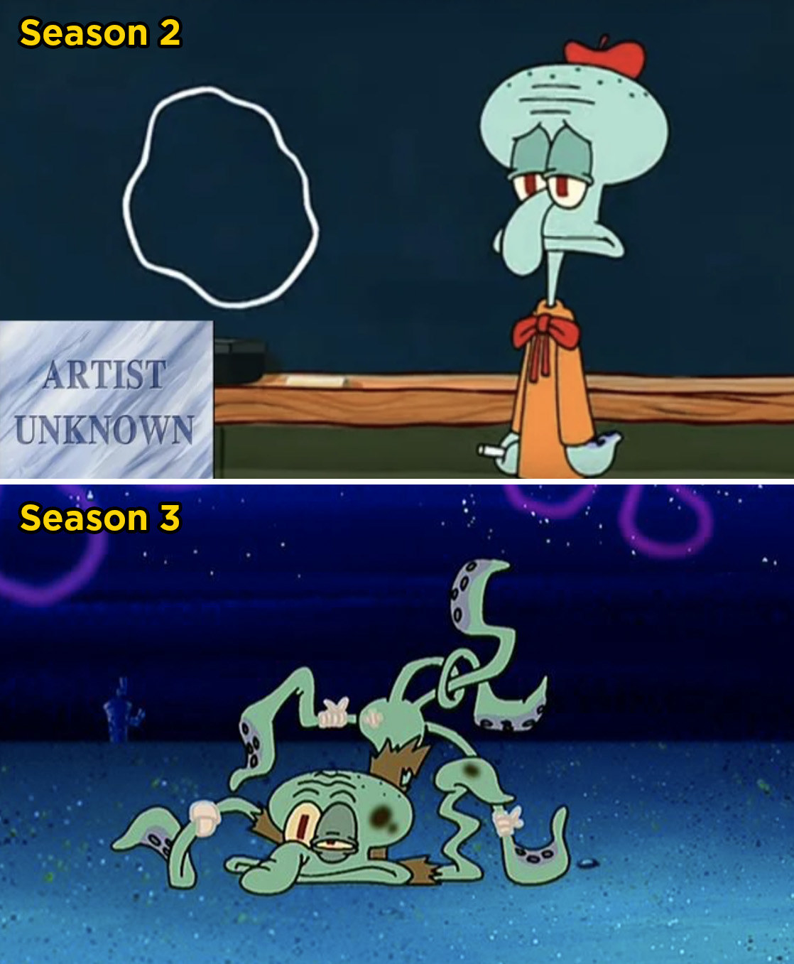 In  SpongeBob SquarePants , Squidward poorly draws a circle at his art show. Later on, he gets attacked by a sea bear because he still can't draw a perfect circle, which protects you from an attack.