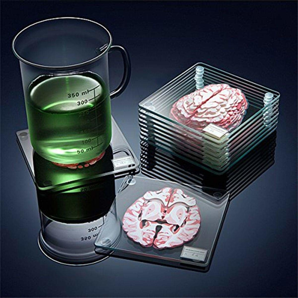 "Promising review: ""I'm a pretty big fan of these coasters. They're clear thick glass and they have four rubbery feet on them so they don't slip around and so they have some space between them when they are stacked. The best part about them is that you get a bunch of coasters — standard coaster quantity is usually four, so I was able to supply my entire office with coasters and have a couple left over for me."" —Megan F.Get a set of 10 from Amazon for $19.87."