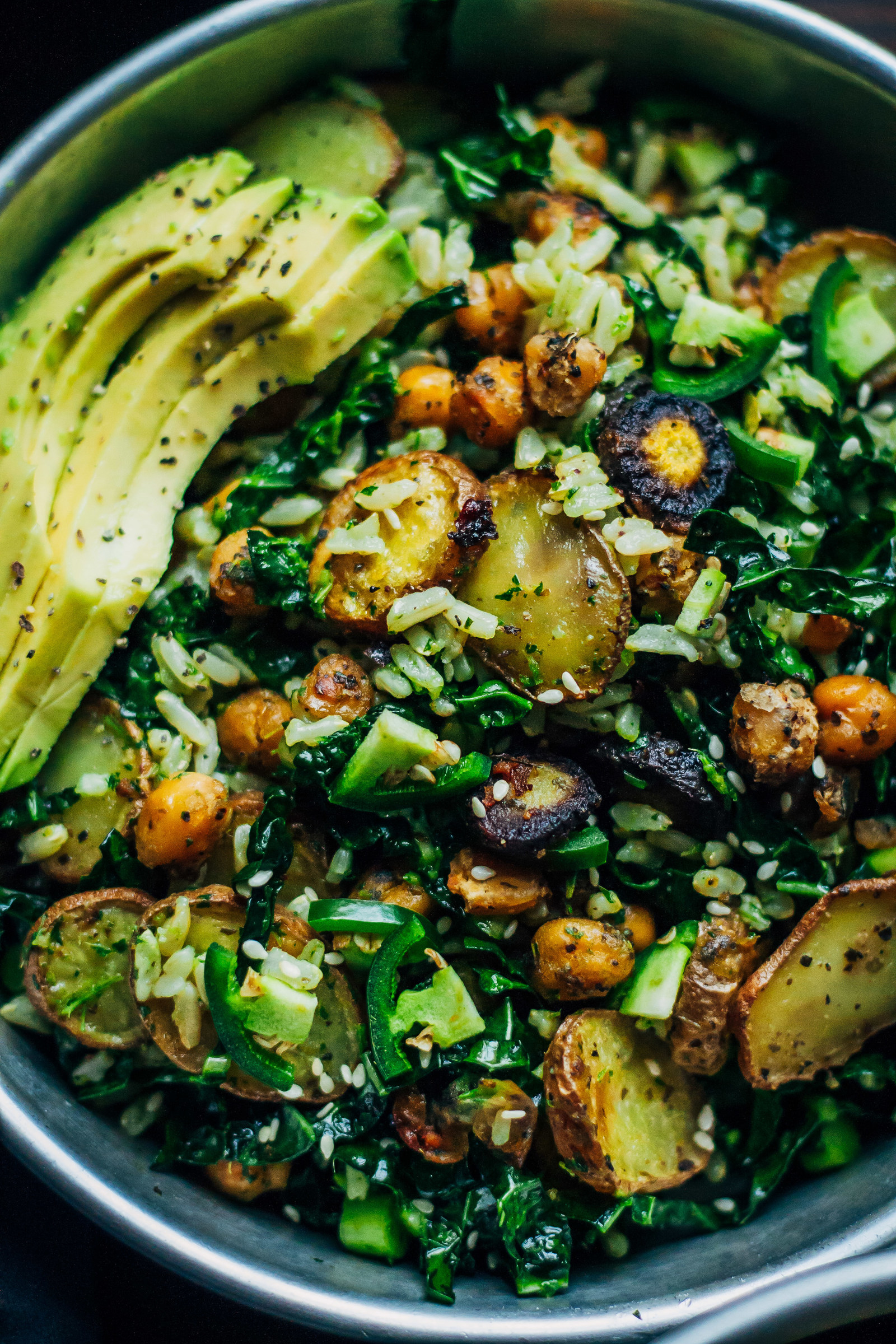 Loaded with roasted carrots, potatoes, chickpeas, brown rice, and avocado, this is the kind of feel-good salad you'll start craving on the regular. Get the recipe.