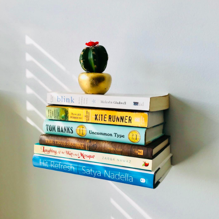 Floating shelf with books and cactus