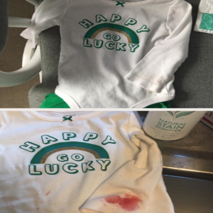 reviewer's before-and-after of a kid's shirt with a red stain on the sleeve compared to the stain completely gone from the shirt
