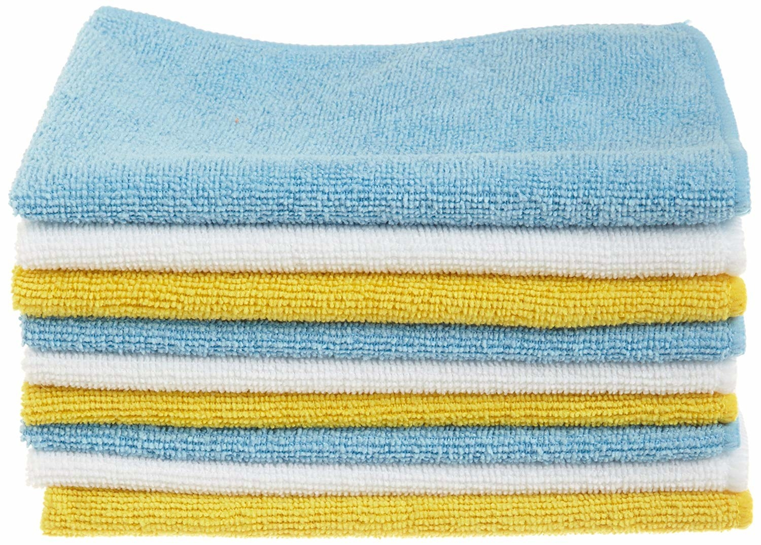 a stack of yellow, blue, and white towels
